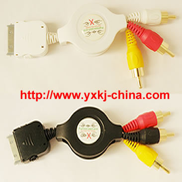 AV cable, iPhone AV cable, iphone video output, ipod AV cable, Scosche, Scosche AV cable, Scosche showTIME, showTIME, showTIME AV Cable,Cable,Retractable Cable,Hotsync cable,USB Retractable Hot Sync Charge Data Cable